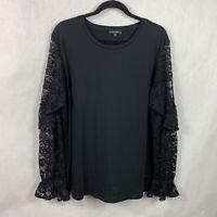 Stella & Dot Belle Top Black Lace Ruffle Long Sleeve Women's Plus Size 1X