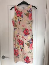 Floral Bodycon Knee Length Dress Nude Size 8 Zipped Back