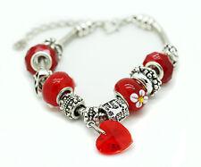 Red Murano Glass Bracelet Heart Crystal Brass Charm Bangle Infinity Bead Women