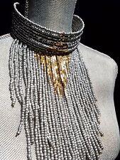 ~ Massive Cleopatra Egyptian Platinum Matte SILVER Beaded Choker Bib NECKLACE