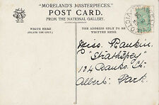 Stamp 1/2d green bantum Victoria on Moreland's Masterpieces postcard STAWELL