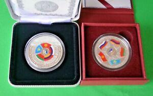 Kazakhstan: 500 tenge 2019 & 500 tenge 2015 EEU. Two coins. PROOF