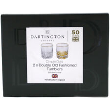 Dartington Crystal Dimple Gold Double Old Fashioned Tumbler Set of Two Glasses