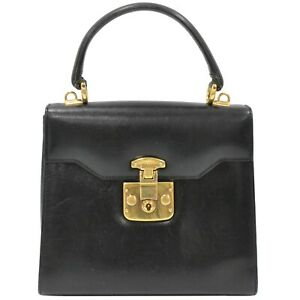 GUCCI Lady Lock Leather Top Handle Handbag Satchel Flap Bag Black Gold Vintage