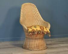 Attractive Vintage High Back Wicker Rattan Conservatory Easy Chair