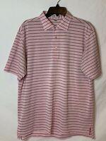 Peter Millar Mens Large Pink Striped Summer Comfort Short Sleeve Polo Shirt
