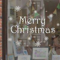 Merry Christmas Removable Shop Window snowflakes Sticker Decal Wall Home White
