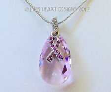 m/w Swarovski Awareness PINK RIBBON Rosaline Pendant Chain Lilli Heart Designs