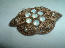 Vintage Sarah Coventry VICTORIA Goldtone Opal Pearl Pin Brooch in Gift Box