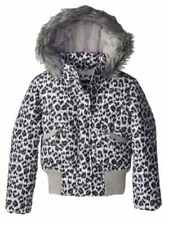 Rothschild Girls Black Snow Leopard Fur Coat Animal Print Puffer Jacket 4-5
