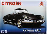 PLAQUE METAL vintage CITROËN DS 19 CABRIOLET 1961 - 40 x 30 cm