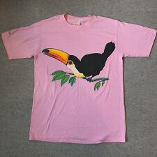 Vintage 1985 Harlequin Pink Bahamas Bird Graphic Tee Shirt Size Medium