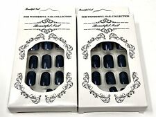Shiny Black Chrome Nails Artificial Fake Full Cover Nails 2 Boxes 48 Nails!!