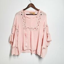 Wrangler Womens Pink Knit Tiered Peasant Top Blouse Boho Flowy Size Medium