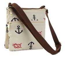 Canvas Nautical Design Cross Body Messenger Phone Coin BagWristlet Handbag Purse