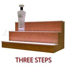 60 3 Tier Led Lighted Liquor Display Shelf Maple Finish