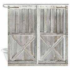 Rustic Wooden Barn Door Decor Shower Curtain for Bathroom, Western Country Them