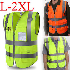 Hivisibility Reflective Safety Vest With Pockets Zipper Night Security Waistcoat