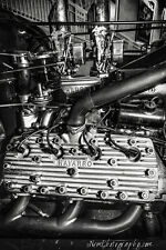 12x18 in. Vintage Black & White Navarro Flat Head Engine, Hot Rod Garage Art