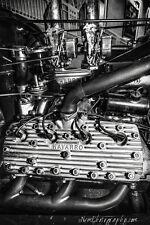 12x18 in. Vintage Black & White Navarro Flat Head Engine, Hot Rod Garage Art
