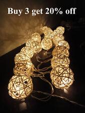 20 Handmade White Rattan Ball String Fairy Lights  Party, Weddings, Home