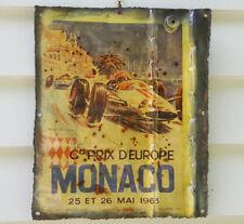 "Sign, hanging plaque, tin, the iconic ""Monaco"", bar/garage/man cave etc., decor"