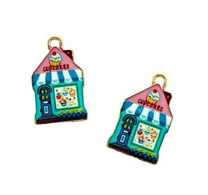 10 Enamel Bakery Cupcakes Cottage House Gold Bead Drops 22mm Charms Pendants
