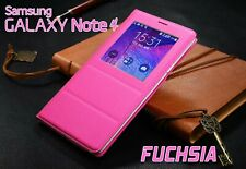 Housse Etui Flip S View Fuchsia Samsung Galaxy Note 4 Auto Smart Case Cover