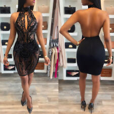 S-XL Women Lace Sequins Backless One-piece Dress See-through Look Bodycon