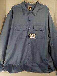 Dickies Mens Work Shirt 4XLT Blue Long Sleeve Button Front Pockets NWT