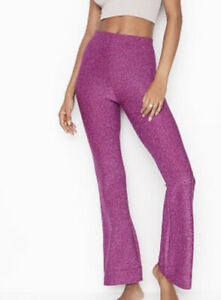 Victorias Secret Shimmer Flare Leg Pants Womens Small Stretch Pink