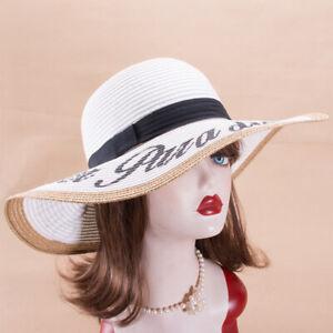 Womens Kentucky Derby Wide Brim Straw Sun Beach Hat X773