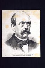 Principe Ottone di Bismark, Gran Cancelliere Impero Germanico Incisione del 1875