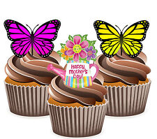 Mother's Day Butterfly Mix - 12 Edible Cup Cake Toppers Decorations Mum, Mummy