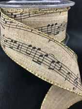 """Wired Burlap Music Notes Ribbon - 10 Yards - 1.5"""" Wide, Musical Crafts, Bows"""