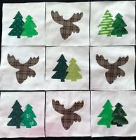 9 Cotton Fabric Quilt Top Blocks 6 Inch Square Trees & Moose  Appliques