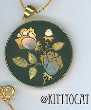 "Amita Damascene Pendant Rose bush Silver & Gold on Black Natural Scene 18"" Chain"