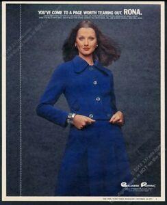 1972 Rona women's blue jacket dress fashion photo vintage print ad