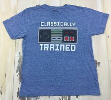 NINTENDO - Classically Trained Vtg Style NES Blue Heather T-shirt, Mens LARGE