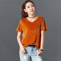 Lady Velvet T-Shirts Short Sleeve V Neck Baggy Basic Tees Blouse Pullover Casual