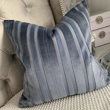 """Funda de Cojín 18"""" a rayas tejido de terciopelo, Decoración De Casas Modernas Doble Cara Azul"""