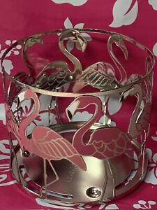 Bath & Body Works Candle Holder Large 3 Wick Sleeve Pink Flamingo Metal Silver