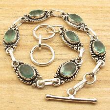UNISEX Gift Bracelet 7.9 Inch! 925 Silver Plated Cut APATITE Gemstone Theme