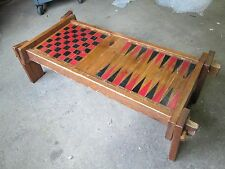 Primitive Knockdown Folk Art Chess/Backgammon Table - VERY Unusual and Nice