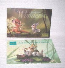 Two (2) WDCC Bambi & Thumper Postcards - Mint & Free shipping!