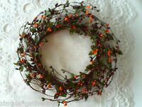 """Berry Candle Ring Pip Wreath 6"""" BURGUNDY GREEN ORANGE MIXED Berries Crafts"""