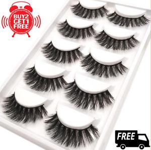 💖NEW 5Pair 3D Mink False Eyelashes Wispy Cross Long Thick Soft Fake Eye Lashe💖