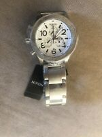 Authentic Nixon Watch  Silver/White Stainless Steel 42-20 Chrono A037-000
