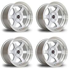 "4 x Rota Grid-V Silver / Polished Lip Alloy Wheels 15x8""|ET0|4x100 PCD|67.1mm CB"