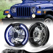 "7"" Round H6014/H6017/H6024 Blue 36-LED Ring Black Diamond Projector Headlights"